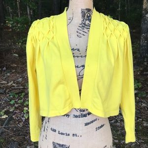 Calvin Klein Yellow Cropped Pleated Cardigan L